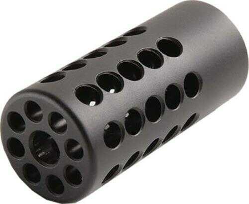 .900 Diameter - 360 Degree Ports - 1/2x28 Threaded Barrel - Aluminum - Matte Black - Fits: .22 LR caliber rifles and pistols with 1/2x28 threaded barrels.